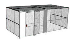 "3-Wall Welded Wire Security Cage, w/Ceiling, 20'6"" x 10'2"" x 10'5-1/4"" with 5' Sliding Gate"