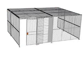 "3-Wall Welded Wire Security Cage, w/Ceiling, 20'6"" x 15'4"" x 10'5-1/4"" with 5' Sliding Gate"