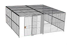"3-Wall Welded Wire Security Cage, w/Ceiling, 20'6"" x 20'4"" x 10'5-1/4"" with 5' Sliding Gate"