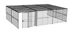 "3-Wall Welded Wire Security Cage, w/Ceiling, 30'6"" x 20'4"" x 10'5-1/4"" with 5' Sliding Gate"