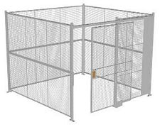 "4-Wall Welded Wire Security Cage, No Ceiling, 10'4"" x 10'4"" x 8'5-1/4"" with 5' Sliding Gate"
