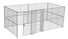 "4-Wall Welded Wire Security Cage, No Ceiling, 20'6"" x 10'4"" x 8'5-1/4"" with 5' Sliding Gate"