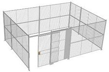 "4-Wall Welded Wire Security Cage, No Ceiling, 20'6"" x 15'6"" x 8'5-1/4"" with 5' Sliding Gate"