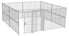 "4-Wall Welded Wire Security Cage, No Ceiling, 20'6"" x 20'6"" x 8'5-1/4"" with 5' Sliding Gate"