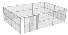 "4-Wall Welded Wire Security Cage, No Ceiling, 30'8"" x 20'6"" x 8'5-1/4"" with 5' Sliding Gate"