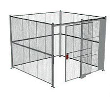 "4-Wall Welded Wire Security Cage, No Ceiling, 10'4"" x 10'4"" x 10'5-1/4"" with 5' Sliding Gate"