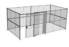 "4-Wall Welded Wire Security Cage, No Ceiling, 20'6"" x 10'4"" x 10'5-1/4"" with 5' Sliding Gate"