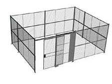 "4-Wall Welded Wire Security Cage, No Ceiling, 20'6"" x 15'6"" x 10'5-1/4"" with 5' Sliding Gate"