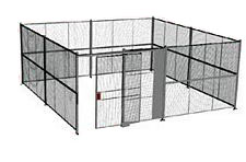 "4-Wall Welded Wire Security Cage, No Ceiling, 20'6"" x 20'6"" x 10'5-1/4"" with 5' Sliding Gate"