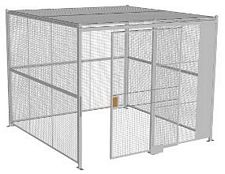 "4-Wall Welded Wire Security Cage, w/Ceiling, 10'4"" x 10'4"" x 8'5-1/4"" with 5' Sliding Gate"