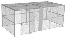 "4-Wall Welded Wire Security Cage, w/Ceiling, 20'6"" x 10'4"" x 8'5-1/4"" with 5' Sliding Gate"