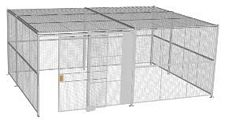 "4-Wall Welded Wire Security Cage, w/Ceiling, 20'6"" x 15'6"" x 8'5-1/4"" with 5' Sliding Gate"