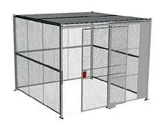 "4-Wall Welded Wire Security Cage, w/Ceiling, 10'4"" x 10'4"" x 10'5-1/4"" with 5' Sliding Gate"