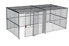 "4-Wall Welded Wire Security Cage, w/Ceiling, 20'6"" x 10'4"" x 10'5-1/4"" with 5' Sliding Gate"