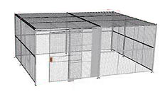 "4-Wall Welded Wire Security Cage, w/Ceiling, 20'6"" x 15'6"" x 10'5-1/4"" with 5' Sliding Gate"