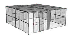 "4-Wall Welded Wire Security Cage, w/Ceiling, 20'6"" x 20'6"" x 10'5-1/4"" with 5' Sliding Gate"