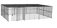 "4-Wall Welded Wire Security Cage, w/Ceiling, 30'6"" x 20'6"" x 10'5-1/4"" with 5' Sliding Gate"