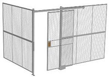 "2-Wall Welded Wire Security Cage, No Ceiling, 12'4"" x 8'2"" x 8'5-1/4"" with 4' Sliding Gate"