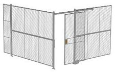 "2-Wall Welded Wire Security Cage, No Ceiling, 12'4"" x 12'4"" x 8'5-1/4"" with 4' Sliding Gate"
