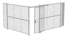 "2-Wall Welded Wire Security Cage, No Ceiling, 16'4"" x 12'4"" x 8'5-1/4"" with 4' Sliding Gate"