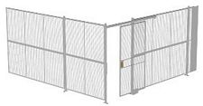 "2-Wall Welded Wire Security Cage, No Ceiling, 16'4"" x 16'4"" x 8'5-1/4"" with 4' Sliding Gate"