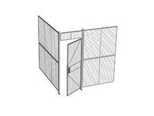 "2-Wall Welded Wire Security Cage, No Ceiling, 8'2"" x 8'2"" x 8'5-1/4"" with 3' Hinged Gate"