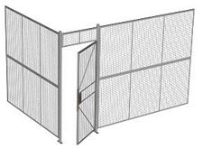 "2-Wall Welded Wire Security Cage, No Ceiling, 12'4"" x 8'2"" x 8'5-1/4"" with 3' Hinged Gate"