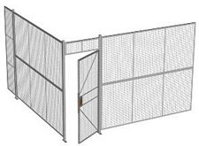 "2-Wall Welded Wire Security Cage, No Ceiling, 12'4"" x 12'4"" x 8'5-1/4"" with 3' Hinged Gate"