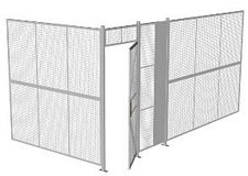 "2-Wall Welded Wire Security Cage, No Ceiling, 16'4"" x 8'2"" x 8'5-1/4"" with 3' Hinged Gate"