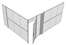 "2-Wall Welded Wire Security Cage, No Ceiling, 16'4"" x 12'4"" x 8'5-1/4"" with 3' Hinged Gate"
