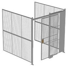 "3-Wall Welded Wire Security Cage, No Ceiling, 8'4"" x 8'2"" x 8'5-1/4"" with 4' Sliding Gate"