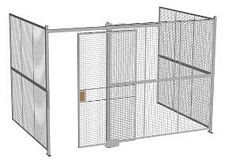"3-Wall Welded Wire Security Cage, No Ceiling, 12'6"" x 8'2"" x 8'5-1/4"" with 4' Sliding Gate"
