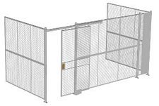 "3-Wall Welded Wire Security Cage, No Ceiling, 16'6"" x 8'2"" x 8'5-1/4"" with 4' Sliding Gate"