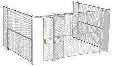 "3-Wall Welded Wire Security Cage, No Ceiling, 16'6"" x 12'4"" x 8'5-1/4"" with 4' Sliding Gate"