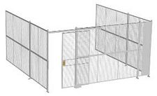 "3-Wall Welded Wire Security Cage, No Ceiling, 16'6"" x 16'4"" x 8'5-1/4"" with 4' Sliding Gate"