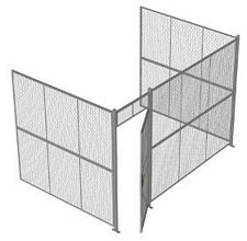 "3-Wall Welded Wire Security Cage, No Ceiling, 12'6"" x 8'2"" x 8'5-1/4"" with 3' Hinged Gate"