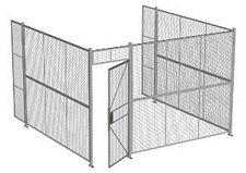 "3-Wall Welded Wire Security Cage, No Ceiling, 12'6"" x 12'4"" x 8'5-1/4"" with 3' Hinged Gate"