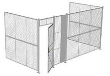 "3-Wall Welded Wire Security Cage, No Ceiling, 16'6"" x 8'2"" x 8'5-1/4"" with 3' Hinged Gate"