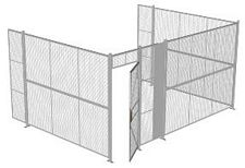 "3-Wall Welded Wire Security Cage, No Ceiling, 16'6"" x 12'4"" x 8'5-1/4"" with 3' Hinged Gate"
