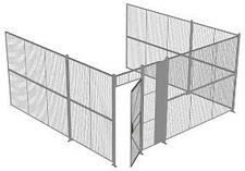 "3-Wall Welded Wire Security Cage, No Ceiling, 16'6"" x 16'4"" x 8'5-1/4"" with 3' Hinged Gate"