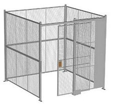 "4-Wall Welded Wire Security Cage, No Ceiling, 8'4"" x 8'4"" x 8'5-1/4"" with 4' Sliding Gate"