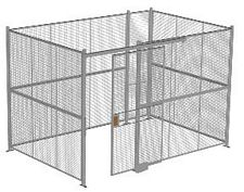 "4-Wall Welded Wire Security Cage, No Ceiling, 12'6"" x 8'4"" x 8'5-1/4"" with 4' Sliding Gate"