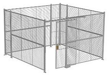 "4-Wall Welded Wire Security Cage, No Ceiling, 12'6"" x 12'6"" x 8'5-1/4"" with 4' Sliding Gate"