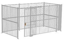 "4-Wall Welded Wire Security Cage, No Ceiling, 16'6"" x 8'4"" x 8'5-1/4"" with 4' Sliding Gate"