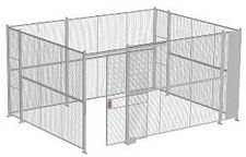 "4-Wall Welded Wire Security Cage, No Ceiling, 16'6"" x 12'6"" x 8'5-1/4"" with 4' Sliding Gate"