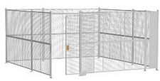 "4-Wall Welded Wire Security Cage, No Ceiling, 16'6"" x 16'6"" x 8'5-1/4"" with 4' Sliding Gate"