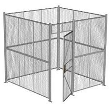 "4-Wall Welded Wire Security Cage, No Ceiling, 8'4"" x 8'4"" x 8'5-1/4"" with 3' Hinged Gate"