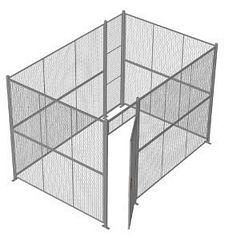 "4-Wall Welded Wire Security Cage, No Ceiling, 12'6"" x 8'4"" x 8'5-1/4"" with 3' Hinged Gate"