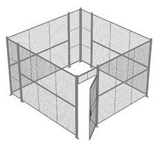 "4-Wall Welded Wire Security Cage, No Ceiling, 12'6"" x 12'6"" x 8'5-1/4"" with 3' Hinged Gate"
