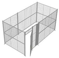 "4-Wall Welded Wire Security Cage, No Ceiling, 16'6"" x 8'4"" x 8'5-1/4"" with 3' Hinged Gate"